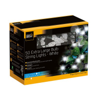 Гирлянда уличная large bulb string lights (50 led-ламп), белый свет